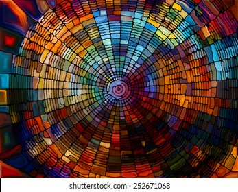 Stained Glass Pattern series. Creative arrangement of virtual stained glass fragments to act as complimentary graphic for subject of art, craft and design
