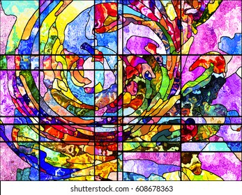 Stained Glass series. Arrangement of organic patterns on the subject of spirituality, imagination, creativity and art