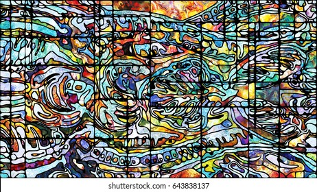 Stained Glass series. Creative arrangement of organic patterns for subject of spirituality, imagination, creativity and art
