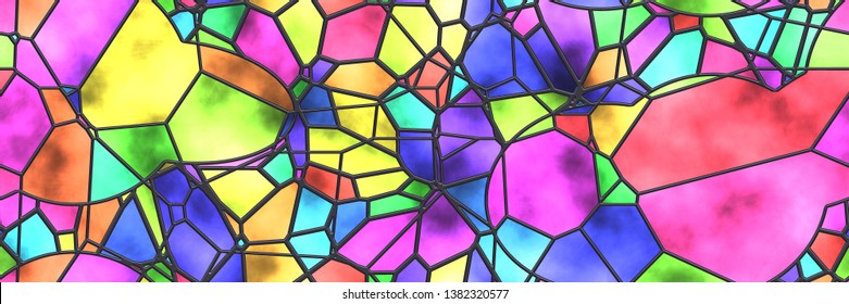 Stained glass wall. Art mosaic- tile glaze bathroom. Home architecture decor- abstract background. Geometric pattern- room interior. 3d illustration