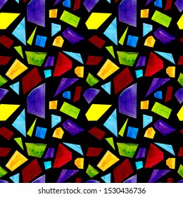 Stained glass window seamless pattern