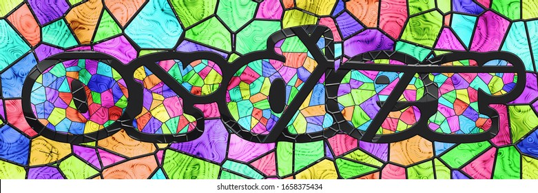 Stained glasses- background wall. Art mosaic- tile glaze bathroom. Home architecture- decor abstract. Geometric pattern- room interior. 3d illustration