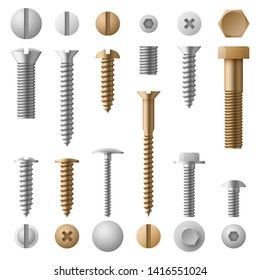 Stainless bolts screws, nuts, fasteners and rivets illustration isolated on white background. Rivet and screw bolt, steel element nut