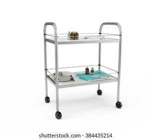 Stainless metal medical supply cabinet placed on a trolley, 3d illustration, isolated against a white background