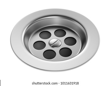 Stainless steel bathroom sink isolated on white background. Metal bath drain hole plug. 3D illustration