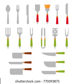 Stainless steel BBQ grill tools and cooking. illustration consisting of cutlery for the barbecue. Flat icons isolated on white background.