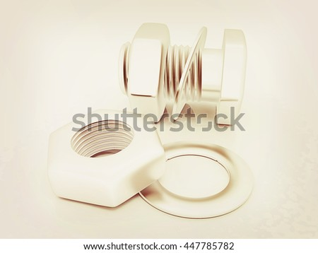 Stainless Steel Bolts Nuts Washers On Stock Illustration 447785782
