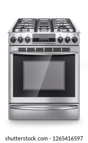Stainless steel domestic gas stove isolated on white background. 3d render