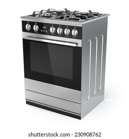 Stainless steel gas cooker with oven isolated on white. 3d