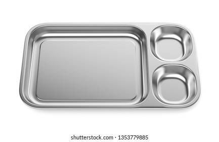Stainless steel medical basin or food tray isolated on white background. Front view. 3D illustration