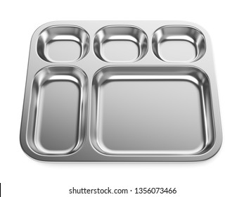 Stainless steel medical basin or food tray isolated on white background. 3D illustration