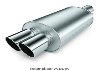 Stainless steel muffler exhaust car pipe, object isolated on white background. 3d render
