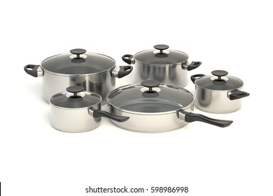 Stainless steel pots and pans on white background. Set of five cooking kitchenware with glass see through lids. Graphic design element for web sites, catalogue, posters, flyer. 3D illustration