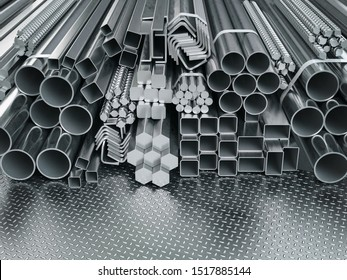 Stainless steel profiles and tubes. in warehouse background. Different metal rolled products. 3d illustration
