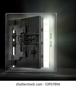 A stainless steel safe vault with beams of light pouring out in a dark room.