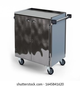 Stainless Steel Three Shelf Utility Cart with Enclosed Base isolated over white background, 3D illustration