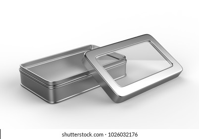 Stainless steel or tin metal shiny silver box container with window lid Isolated on white background for mock up and packaging Design. 3d render illustration.