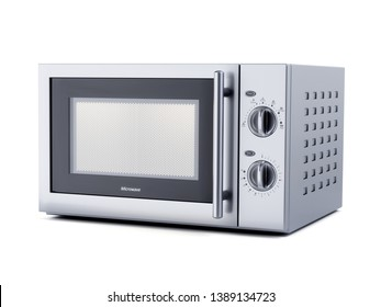 Stainless stell modern new microwave oven isolated on white background. 3d rendering illustration