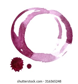 Stains of red wine isolated on the white background (Used real red wine)