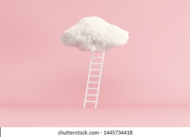 Stair With Cloud Floating on pink room background. Minimal Creative idea concept. 3D render.