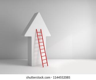 Stair leading an arrow. Success concept.