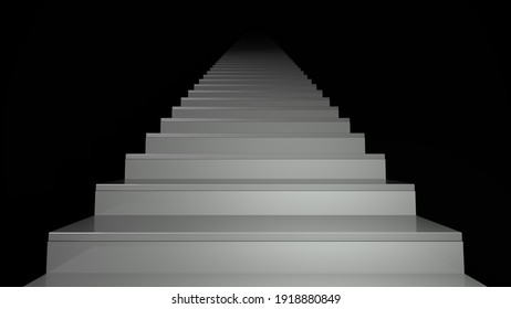 Staircase in a dark interior on a black background. Spiritual and career advancement, personal or business development. Ladder of achievement, ladder to heaven. Business growth. 3d render