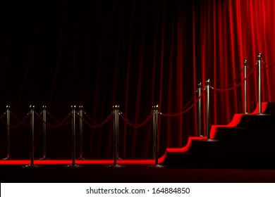 Staircase for fame on red curtain background