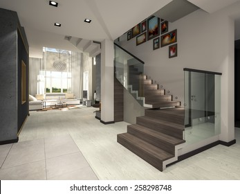 staircase hall 3d rendering