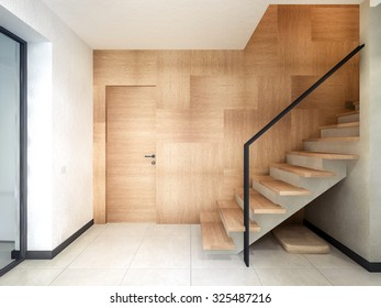staircase hall with wood paneling