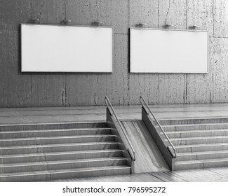 staircase leading to two empty billboards on a granite wall. Interior. 3d illustration