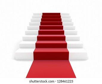 staircase with red carpet Large resolution 3d render