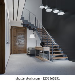 Staircase to the second floor in a modern apartment with metal railings and wooden steps with large pendant lamps, black and white design. 3d rendering.