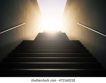 Staircase to success.. 3D render of a staircase, looking up the way against the sunset, strong lighting and contrast, representing hope, business prosperity and light at the end of the tunnel