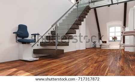 Stairlift Installation On Staircase For Age Appropriate Or Disability (3D  Rendering)