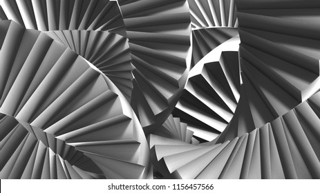 stairs abstract illusion Escher's inspired background. 3D Render