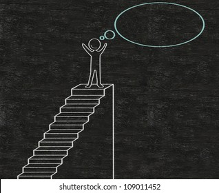 stairs to achieve abstract written on blackboard background, high resolution, easy to use