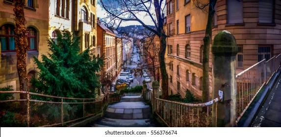 stairs down to stuttgart city