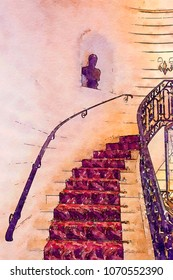 stairs in hotel interior, watercolor style