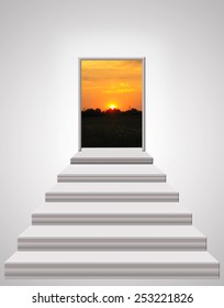 stairs leading up to beautiful landscape of bright sunset