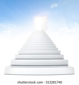 Stairs leading to bright open door