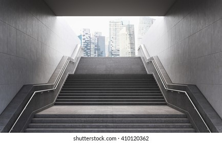 Stairs leading out of concrete pedestrian subway to the city. Concept of success. New York.  3D Rendering