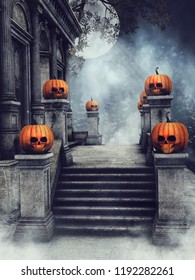 Stairs of an old cemetery mausoleum with Halloween pumpkins at night. 3D illustration.