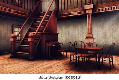 Stairs, piano and a table in an old Wild West saloon. 3D illustration.