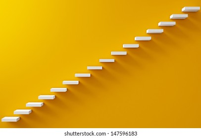 Stairs Rendered on the Yellow Wall