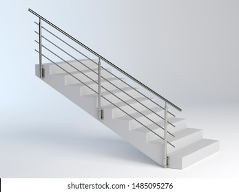 Stairs and stainless steel railing, 3D illustration