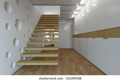 stairs with wall in circles 3d Rendering
