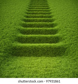 stairway covered with green grass.