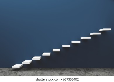 Stairway to the freedom and future with blue wall 3d render concrete background