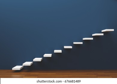Stairway to the freedom and future wooden floor, 3d render background