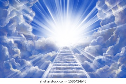 stairway to heaven in glory, gates of Paradise, meeting God, symbol of Christianity, art illustration painted with watercolors